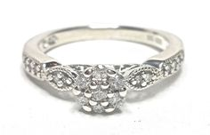 .28CTW Diamond Cluster Engagement Ring Size 7 H-J SI2 Sterling Silver GV82922 #SolitairewithAccents