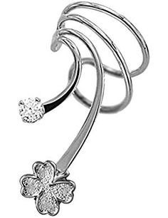 Clover Rhodium Silver Ear Earring. -- See this great product. (This is an affiliate link) #ClipOnEarrings