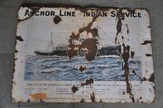 Rare Vintage Anchor Line Indian Service Ad Porcelain Enamel Signboard