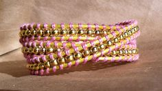 leather and gold bead wrap bracelet