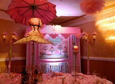 All sugar, no spice for this birthday girl. Personalized cut outs give an especially french/European feel. http://www.grandmarquiscaterers.com.  #firstbirthday, #girlbirthday, #DomeRoom, #pink.