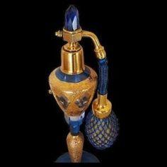 "Mint 1920's Czech Blue & Gold Jeweled Perfume Bottle ~CZECHOSLOVAKIA 8"" by charity"