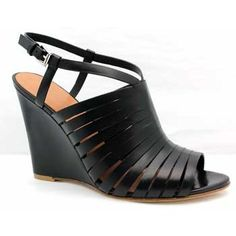 "Sigerson Morrison ""Fabiana"" Black Leather Strappy Open Toe Wedge | Shirise.com"