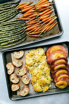 An ENTIRE Easter Dinner made in under an hour! Two sheet pans hold all the food that is baked at the same time!! This Sheet Pan Easter Dinner consists of: roasted Parmesan asparagus, honey-butter roasted carrots, pineapple brown sugar ham, cheesy au gratin potatoes, and a toasted baguette. via chelseasmessyapron.com