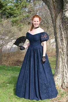 Navy Blue Victorian Dress