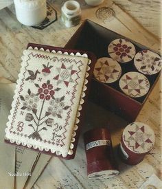 Primitive Folk Art Cross Stitch Leaflet: Morning Star -- Sampler, Sewing Box…