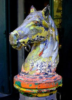 Hitching Post - Royal Street, French Quarter, New Orleans, Louisiana (by Ed Siasoco (aka SC Fiasco))Sailor Jayne Trading co. Themes and inspirations French Quarter, Shabby, Mardi Gras, Hitching Post, New Orleans Louisiana, Louisiana History, Louisiana Art, Crescent City, Horse Art