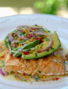 Grilled Salmon with Avocado Salsa. Salmon is naturally rich in Omega 3 fatty acids. Shared by @Whole Body Research #wholebodyresearch