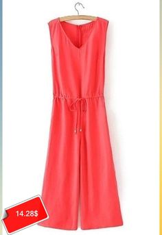 Casual V-Neck Sleeveless Lace Up Solid Color Women's Jumpsuit