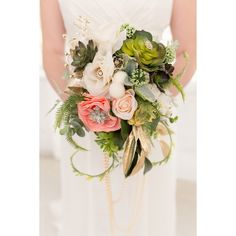 Coral and Emerald Wedding Inspiration ❤ liked on Polyvore featuring flowers