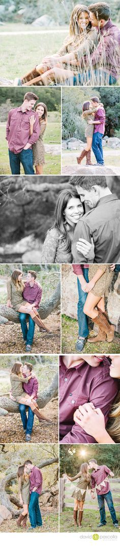 Rustic engagement session. Engagement posing. Engagement outfit. Cowboy boots, dress. David Pascolla Photography