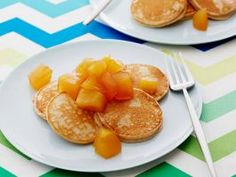Cinnamon-Oatmeal Pancakes : These healthier pancakes feature a mix of whole-wheat flour and oats and are topped with a naturally sweet apple compote made with fruit, cider and honey.