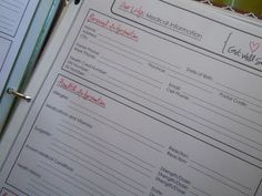 Medical Info Form  Finding Home: Home Notebook - Our Life: Binder