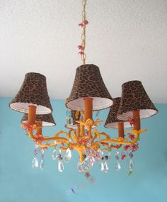 Recycled chandelier. I might try some different color combinations though.