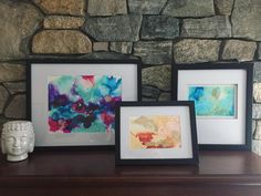 Alcohol inks on yupo paper, matted and framed next to Buddha. Art Walk, Alcohol Inks, Acrylic Pouring, Buddha, Abstract Art, Paper, Frame, Instagram Posts, Inspiration