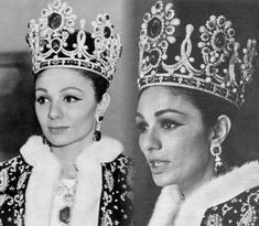 Former Empress of Iran: Farah Pahlavi wearing her crown on Coronation day.