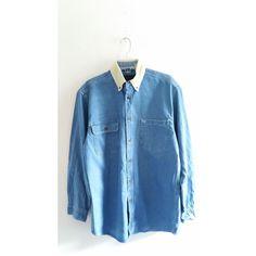 Mens Vintage Medium Blue Denim Jean Country Chest Pocket Corduroy Collared Shirt Sz Medium