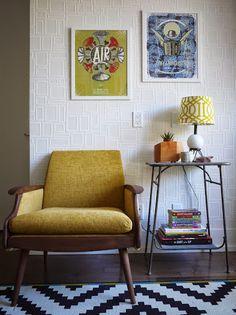 Yellow Mid-century arm chair