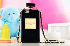 Chanel perfume Bottle Silicone Case With Gold Chain for iphone 6/6 plus iphone 5/5s samsung note 4/3/s6/s5/s4
