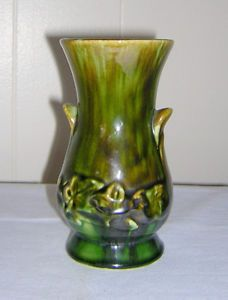 Vintage 1930s Brush McCoy Art Deco Pottery Green Blended Glaze Onyx Urn Vase