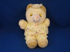 New product 'Vintage AMTOY Small Sleeping Bear ABC Cap Pajamas' added to Dirty Butter Plush Animal Shoppe! - $30.00 - AMTOY Plush 10 inch Sleeping Cream Yellow Bear - Tan Ears, Feet - Closed Yellow Plastic Eyelids with Brown Plastic Eyela…