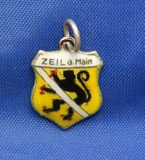 Vintage 800 Silver & Enamel Travel Shield Charm ZEIL am MAIN Germany