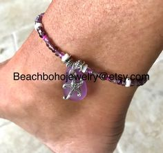 This beautiful seaglass starfish ankle bracelet for women is made with shades of purple glass beads, natural white shell beads, lavender reconstituted seaglass, silver beads, and a silver starfish charm. Seaglass Anklet comes in several sizes, just choose your size from the drop down menu at Beach Jewelry, Etsy Jewelry, Jewelry Sets, Bohemian Style Jewelry, Boho Style, Beach Anklets, Purple Glass, Ankle Bracelets, Stone Jewelry