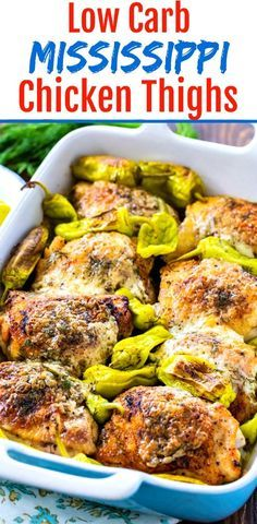 Low Carb Mississippi Chicken Thighs - Skinny Southern RecipesYou can find Chicken thigh dinner ideas and more on our website.Low Carb Mississippi Chicken Thighs - Skinny S. Low Carb Chicken Recipes, Healthy Low Carb Recipes, Keto Recipes, Low Carb Chicken Thigh Recipe, Low Carb Dinner Recipes, Keto Dinner, Best Low Carb Meals, Low Carb Crockpot Chicken, Low Carb