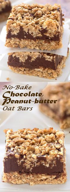 Gotta try these: No-bake, egg-free, gluten-free Chocolate Peanut-butter Oat Bars These delicious bars are super easy-to-make. Something Sweet - Winnie's blog