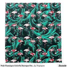 flamingo decor, tropical bathroom ideas Pink Flamingos Colorful Baroque Pattern Shower Curtain
