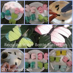 Recycled water bottle butterflies. @Kristin Plucker Gambino, you mentioned looking for a water bottle craft for vbs. not sure how to tie in butterflies to an amusement park, but aren't they cute?!