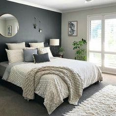 bedroom design * bedroom ideas + bedroom decor + bedroom inspirations + bedroom ideas for small rooms + bedroom + bedroom paint colors + bedroom ideas master + bedroom design Small Bedroom Designs, Master Bedroom Design, Modern Bedroom, Contemporary Bedroom, Calm Bedroom, Dark Master Bedroom, Master Bedroom Color Ideas, Dark Gray Bedroom, Diy Bedroom