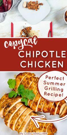 Chipotle Chicken Marinade, Chicken Marinade Recipes, Chicken Marinades, Delicious Dinner Recipes, Healthy Recipes, Chipotle Copycat Recipes, Make Shredded Chicken, Summer Grilling Recipes, Chicken Burritos