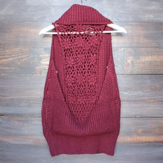 open knit oversized turtleneck sleeveless sweater in burgundy