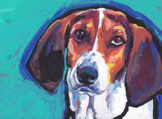 Treeing Walker Coonhound portrait PRINT of modern by BentNotBroken