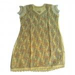 Agarwal Lemon Yellow Hand Work Chikan Kurti with Multi Color Thread