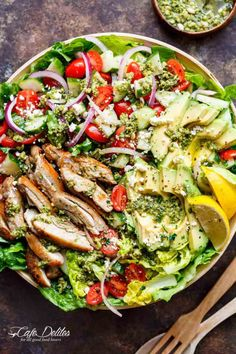 Move over boring salads...this Pesto Grilled Chicken Avocado Salad will become your new favourite salad, using a pesto dressing to double as a marinade! | https://cafedelites.com
