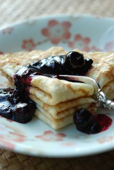 Crepes with Warm Blueberry Sauce