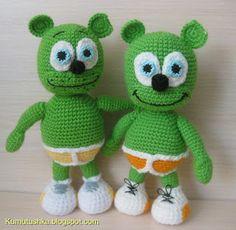 Gummy Green Bears Amigurumi  ~ Free Russian Pattern
