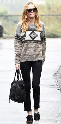 Kate Bosworth in a printed sweater #InStyle