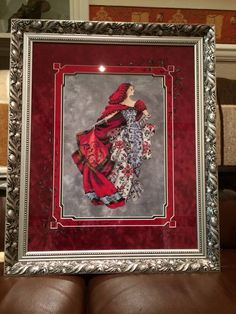 Red designed by Mirabilia, stitched on Moonlit Waters from Crafty Kitten, mats by Jill Rensel Studios