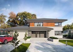 Projekt domu Kleo 185,06 m² - koszt budowy - EXTRADOM My House Plans, Modern House Plans, Modern House Design, Double Storey House Plans, 4 Bedroom House Designs, Modern Family House, 2 Storey House Design, Crazy Houses, House Stairs