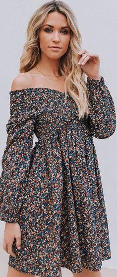 #spring #outfits shoulderless dark dress