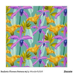 Realistic Flowers Pattern #3 Poster