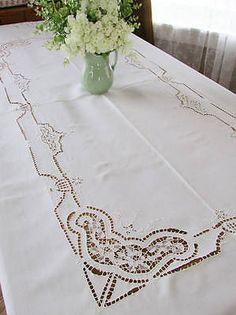 """Estate Antique Banquet Point de Venise + Filet Lace Tablecloth 104x71"""""""