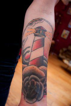 Old-school lighthouse tattoo. #skinked #tattoo