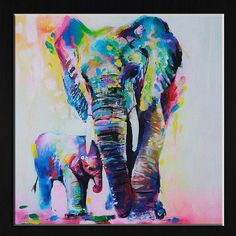 Watercolor Elephant Inkjet Frameless Canvas Art Paintings Oil Colorful Modern Abstract Painting Artwork Painted Wall Decor #artpainting