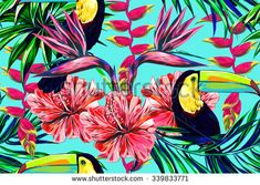 Toucan, exotic birds, tropical flowers, palm leaves, hibiscus, bird of paradise flower. Beautiful seamless vector floral jungle pattern background