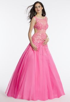 Camille La Vie Beaded Hot Pink Prom Dress with Ball Gown Skirt