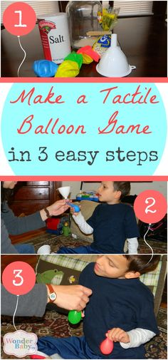Here's an easy activity that is fun and great for fine motor development and tactile discrimination: fill balloons with different textures from the kitchen (like rice or flour) and squeeze and squish them to see what's inside!